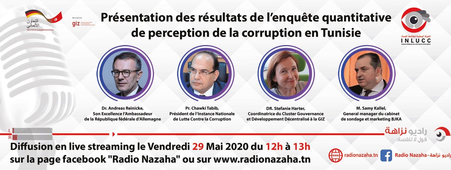 عرض نتائج  دراسة حول مدركات الفساد في تونس يوم الجمعة 29 ماي 2020