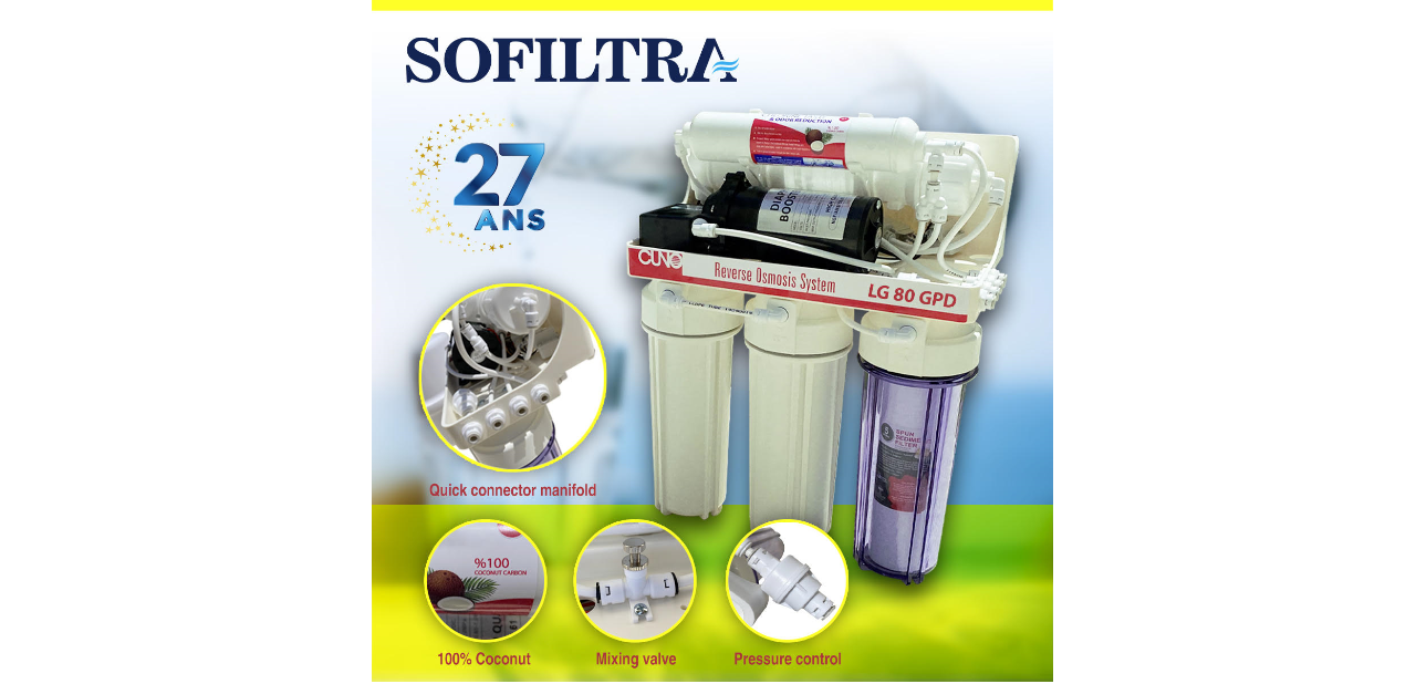 سُوفيلترا تُوفر  لكم أفضل جهاز لتنقية وتصفية مياه الشرب إبتداء من 250 دينارا