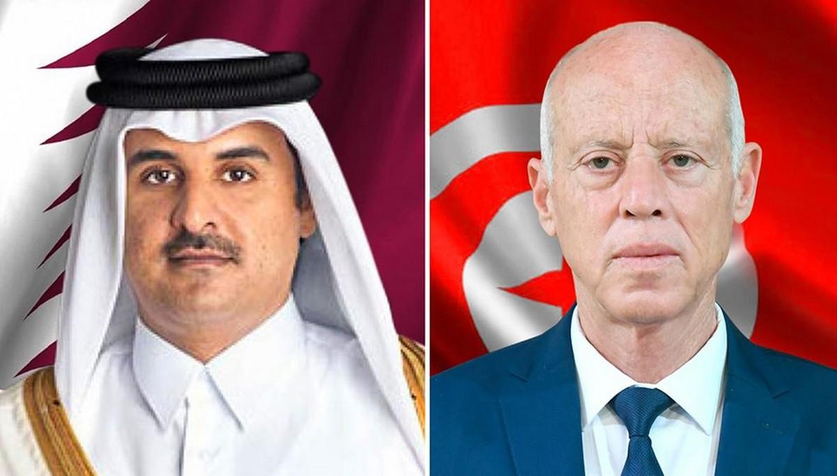 رئيس  الدولة يتبادل  التهاني بعيد  الاضحى مع صاحب السمو الشيخ تميم بن حمد آل ثاني