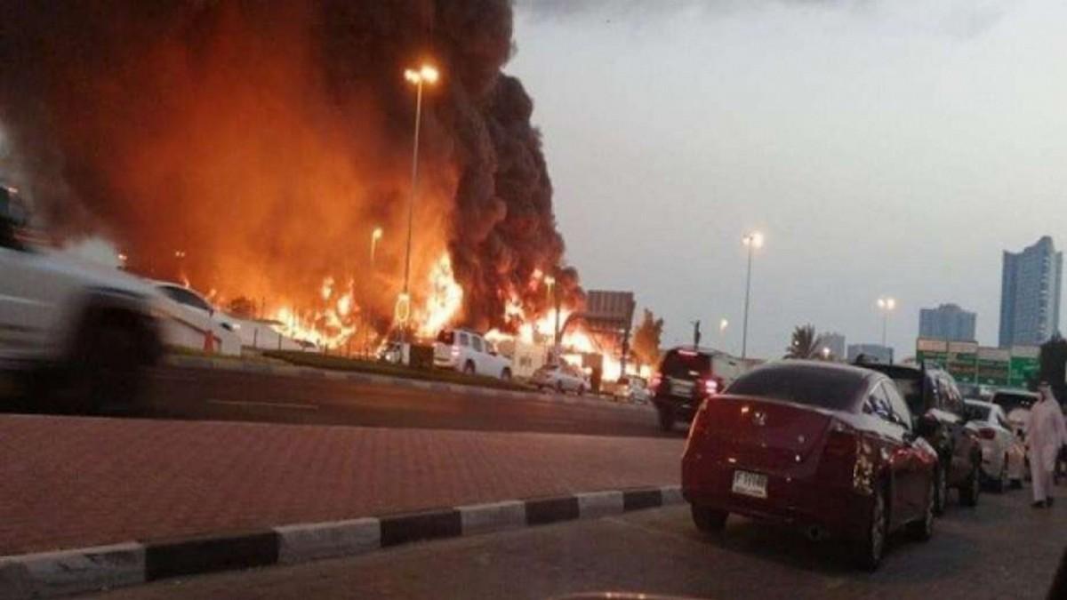 بعد  انفجارات بيروت: حريق  هائل  في سوق شعبي بالامارات