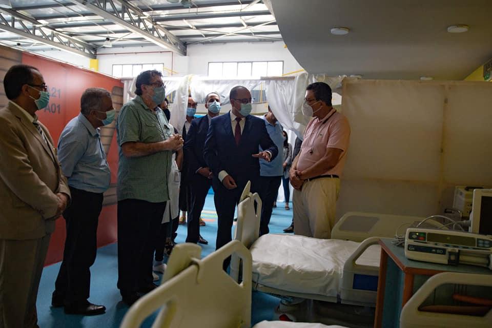 المشيشي يؤدي زيارة إلى المستشفى الميداني كوفيد19 بالحي الرياضي بمنزه