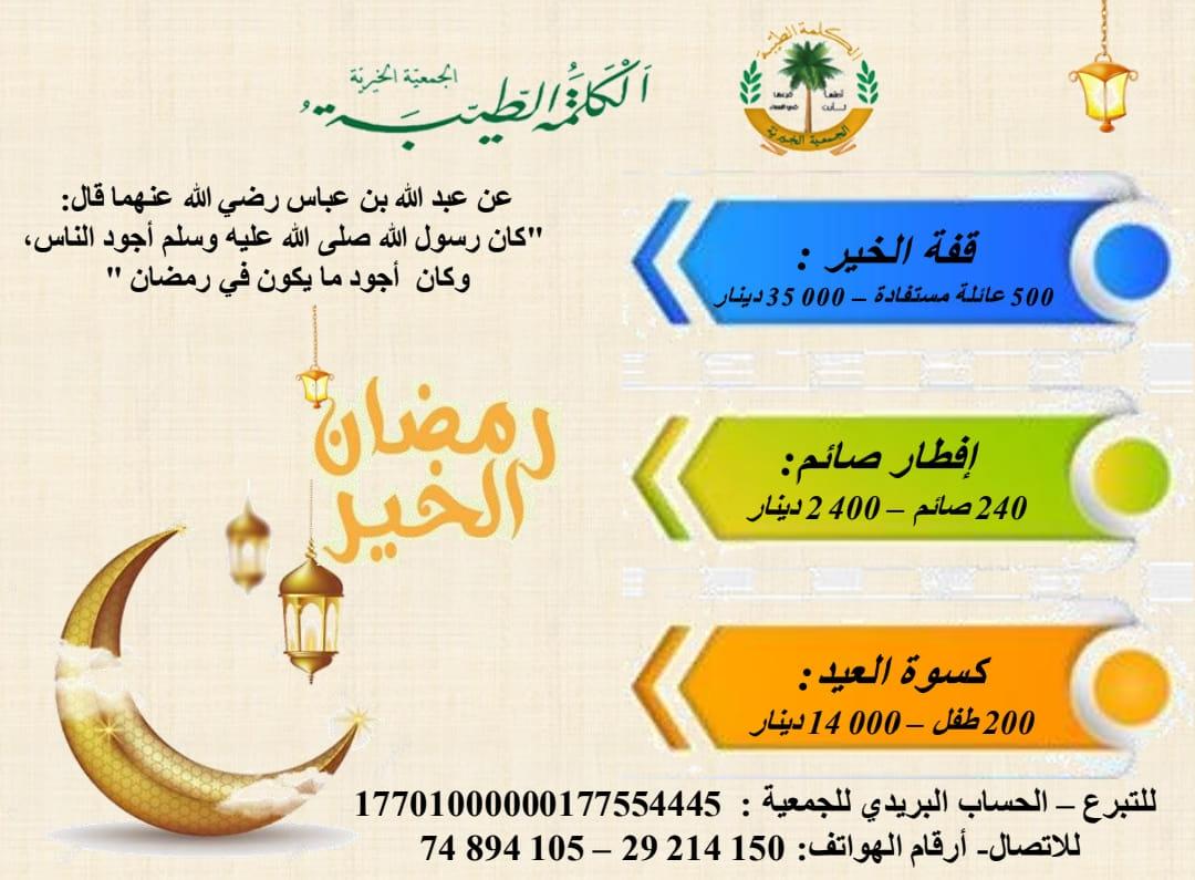 بمناسبة رمضان الجمعية الخيرية الكلمة الطيبة تدعوكم للتبرع لتوفير وجبات الإفطار وكسوة العيد