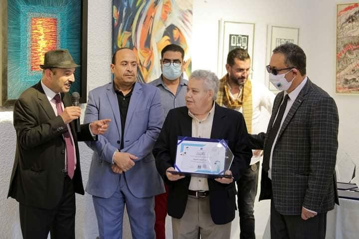 تكريم الفنان عبد اللطيف الحشيشة من طرف اتحاد الفنانين التشكيليين التونسيين بالمعهد العالي للفنون والحرف بصفاقس