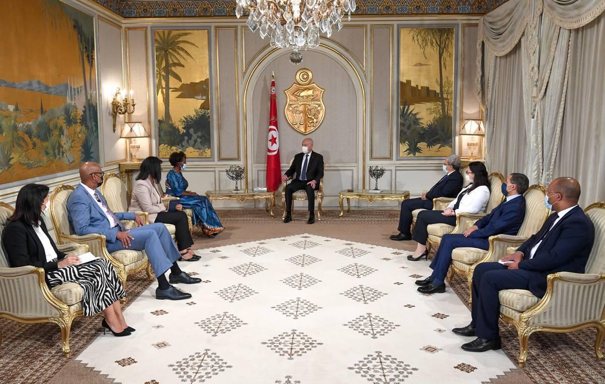 رئيس الدولة يستقبل الأمينة العامة للمنظمة الدولية للفرنكوفونية والوفد المرافق لها